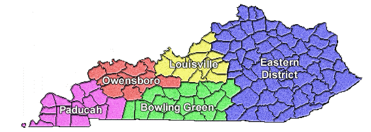Western District of KY Bankruptcy Divisions Map